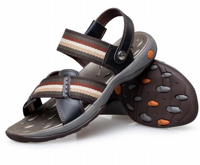 Top qualité véritable cuir de vache sandales homme mode été chaussures plage tongs homme gladiateur Sandalias pantoufles grand Size38-44 - 5
