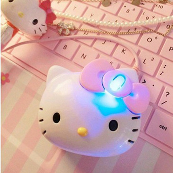 Drop Shipping 3D Cartoon Hello Kitty Wired Mouse USB 2.0 Pro Pink Cute Gaming Mouse Optical Mice For Computer PC Kids Girl Mice เมาส์