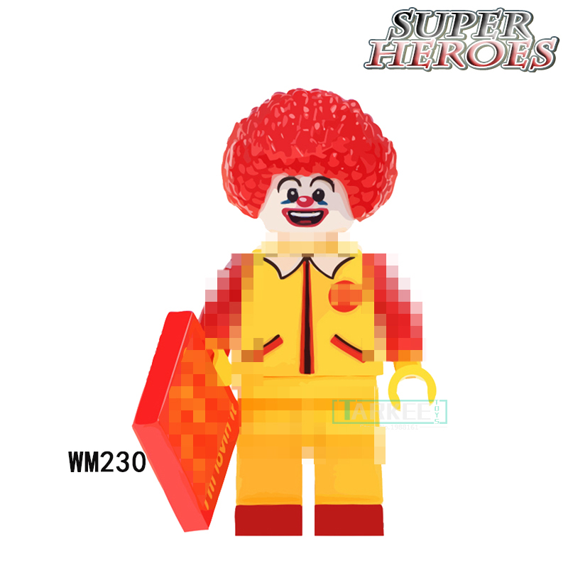 Single Sale Building Blocks WM230 McDonald Joker Super Heroes Action Figure Star Wars Bricks Chidren Kids DIY Toys Hobbies