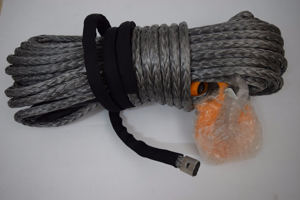 Free Shipping Grey 12mm*30m Synthetic Winch Rope,Winch Rope 12mm,Boat Winch Rope,ATV Winch Line
