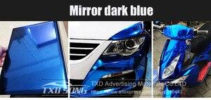 Image 3 - 50CM * 100/200/300/400/500 CM/Roll גבוהה stretchable כהה כחול כרום מראה ויניל לעטוף גיליון רול סרט רכב מדבקת מדבקות גיליון