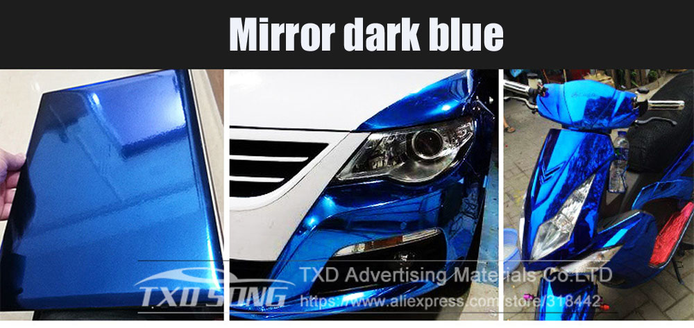 Image 3 - 50CM*100/200/300/400/500CM/Roll High stretchable dark Blue Chrome Mirror Vinyl Wrap Sheet Roll Film Car Sticker Decal Sheet-in Car Stickers from Automobiles & Motorcycles