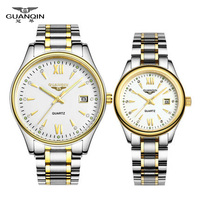 Fashion Lovers Watch Quartz Tops Luxury Brand GUANQIN Waterproof Women Watches Men Women Wristwatch Derss Couple watches