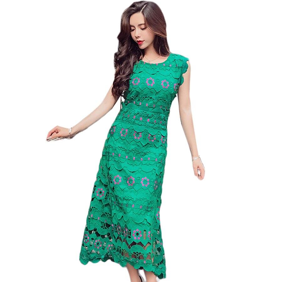 Évider Sans Manches Robe Femmes Élégant Moulante Robes D'été Broderie Bureau Robe Vert Bayan Elbise Femme Vêtements