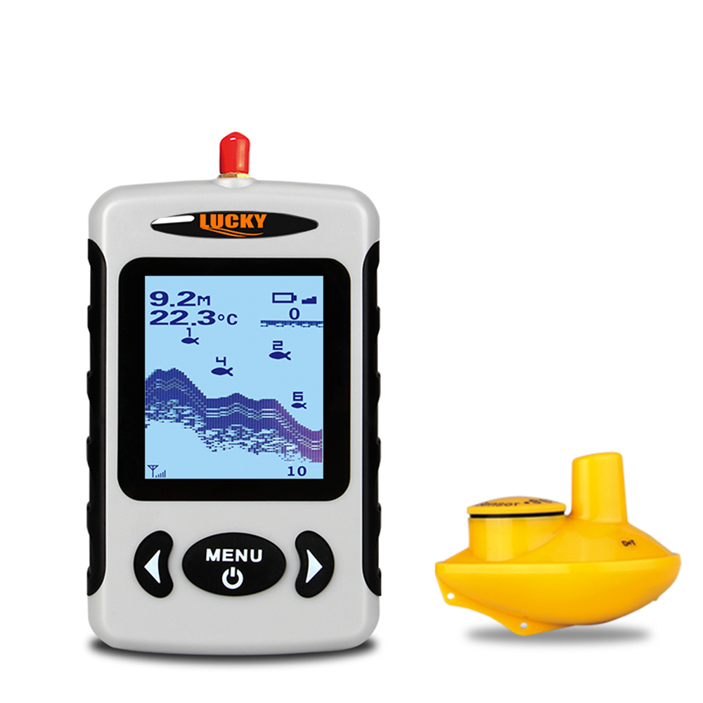 LUCKY Russian Deutsch English Language Wireless Sonar Fish Finder Sensor Echo Sounder Alarm River Lake Sea Bed Fishing 135ft/45M portable fish finder bluetooth wireless echo sounder underwater bluetooth sea lake smart hd sonar sensor depth