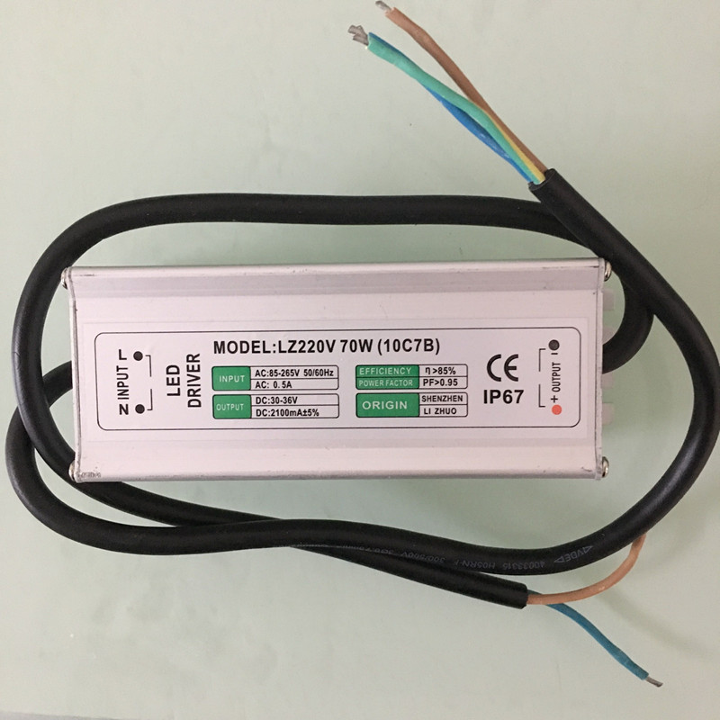 70W IP67 Waterproof Integrated LED Driver Power Supply Constant Current AC85-265V 2100mA for 70W LED downlight/Bulb waterproof 12w led constant current source power supply driver 85 265v