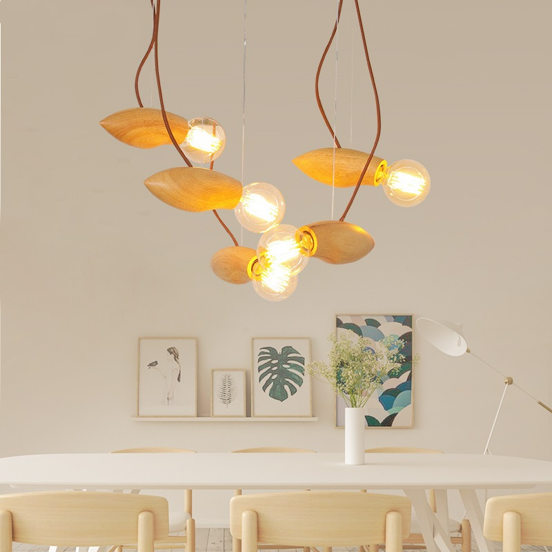 Wooden fireflies restaurant lights Pendant Lights  living room bird bee group lights Nordic creative meal modern lamp chinese style classical wooden sheepskin pendant light living room lights bedroom lamp restaurant lamp restaurant lights