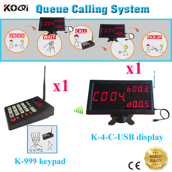 Number Waiting System With 1pcs K-4-C-USB Software Display Receiver Show Call Number And 1pcs K-999 Transmitter Keypad