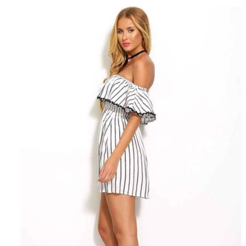 40d49dd3b MOGE summer striped chiffon strapless dress white women sexy off shoulder  casual loose dress vestido listrado tunique femme-in Dresses from Women's  Clothing ...