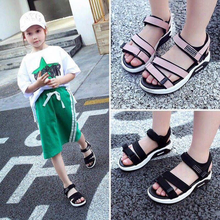 2018 New Summer Boy and Girl Childrens Sports Sandals Open Toe Soft Bottom Baby Beach Shoes