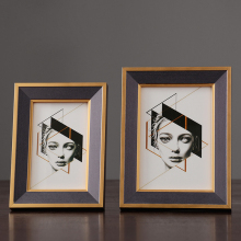 Europe Creative Gray gold picture frame solid wood Metal Multiple sizes table top  photo wedding Home decoration