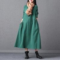 Ilstile 2017 Womens Long Sleeve O Neck Long Dress Plus Size Cotton Linen Casual Loose Dress