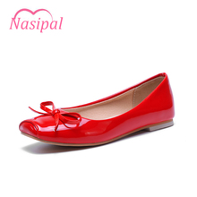 Nasipal New Flat Shoes Women Patent Sweet And Fashion Flats Bow-tie Ballet Flats Square Toe Slip-On Flat Shoes Woman Size50 C065