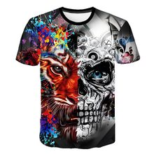 New Mens Summer Skull Poker Print Men Short Sleeve T-shirt 3D T Shirt Casual Breathable Plus-size Punk Cool Tee