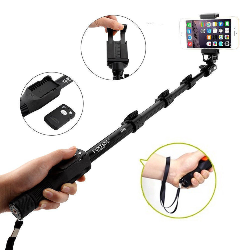 1288 Selfie Stick Bluetooth Extendable Handheld Monopod Tripod Mount for iPhone X 8 8 Plus 7 7 Plus 6 6S Plus 5 5S 5C SE 4 4S