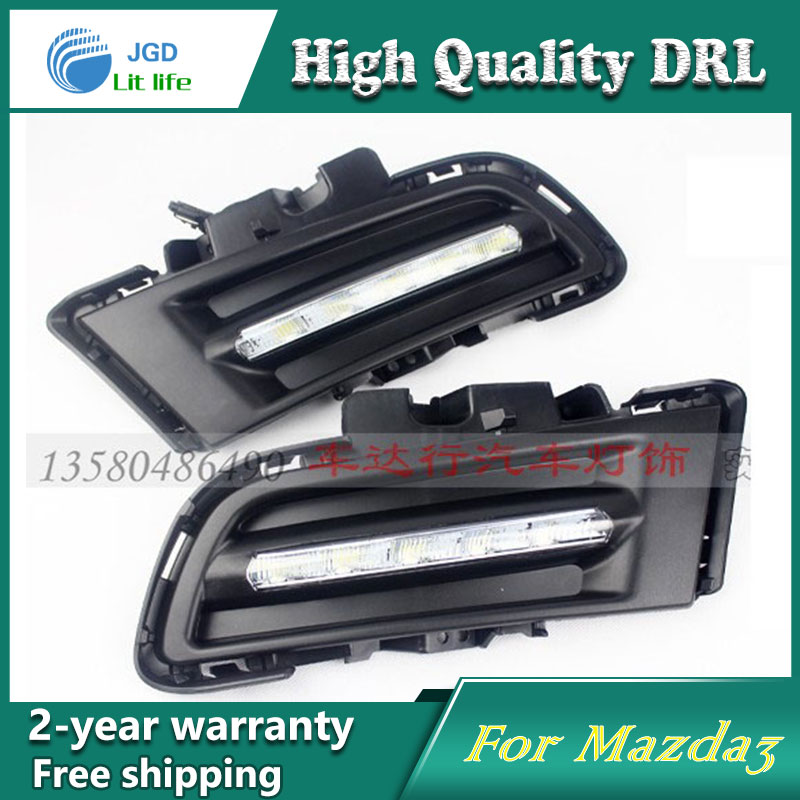 Free shipping !12V 6000k LED DRL Daytime running light case for Mazda 3 Mazda3 M3 2010-2012 fog lamp frame Fog light Car styling