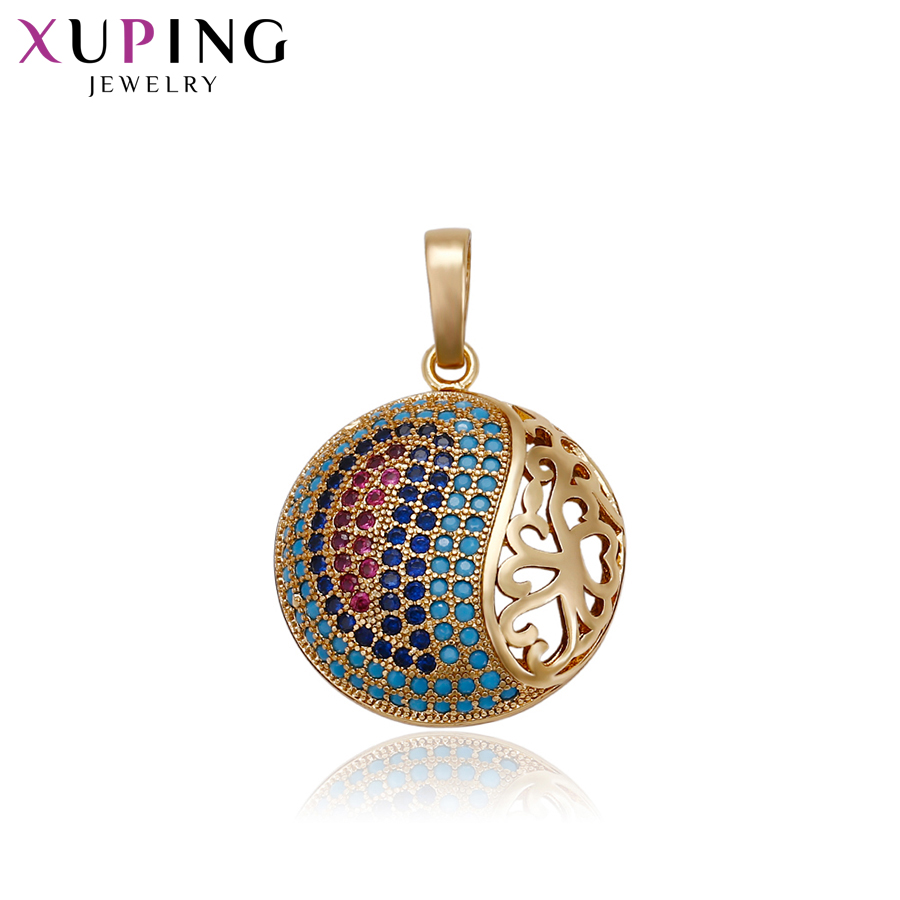 11.11 Deals Xuping Fashion Round Shape Necklace Pendant With Color Synthetic CZ for Women Thanksgiving Jewelry Gifts S72,1-33084