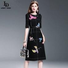 New Fashion 2016 Runway Dress Women's High Quality Half Sleeve Luxury Birds Beading Sequin Black Knee Length Dress