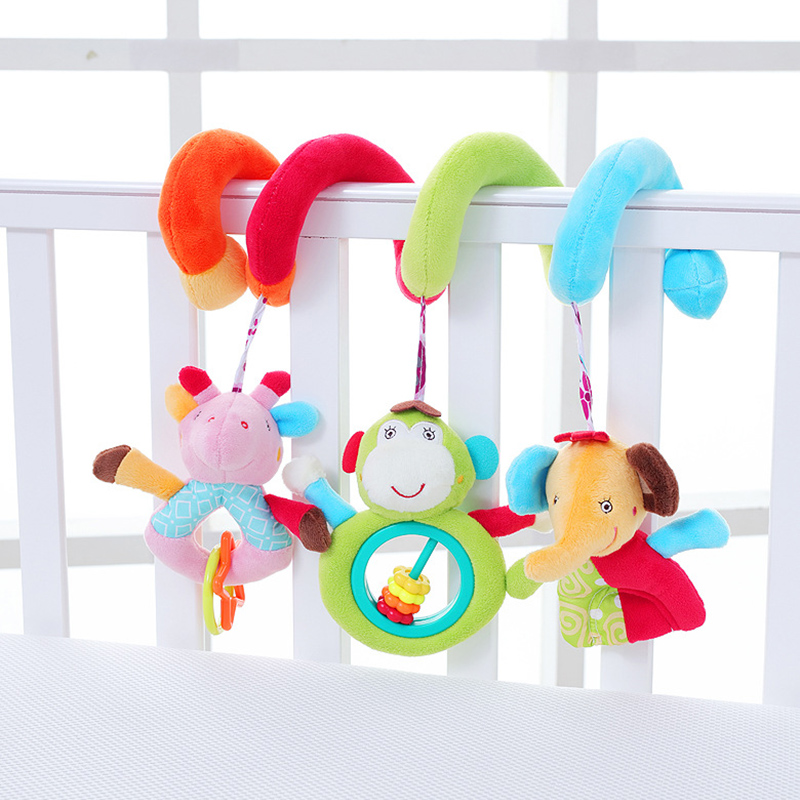 Playpen Baby Toys For Newborns Crib Bed Hanging Stroller Rattles Plush Elephant Giraffe Infant Early Educational Doll A044-30