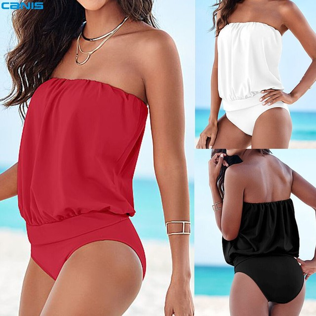 One Piece Swimsuit Strapless Monokini Plus Size Bodysuit Swimwear Swimming Suit For Women Maillot de bain Female