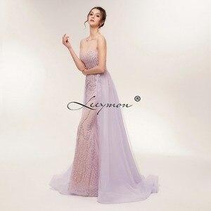 Image 2 - משלוח חינם כבד חרוזים סקסי חצוצרת שמלת ערב 2020 לפתוח בחזרה שרוולים קריסטלים נוצצים נשף שמלת תפור לפי מידה