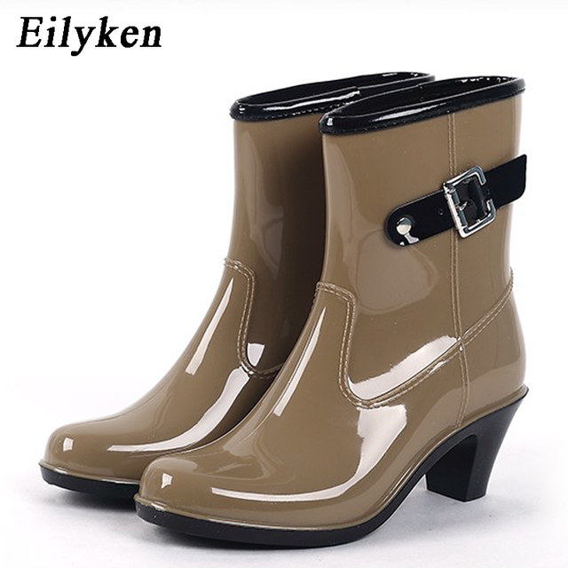 c73b21563bf7 Eilyken Rain Boots Women Waterproof Shoes Ankle Rubber Boots High Heel Rain  boots Plus Size 36-39 Botines Mujer Boots
