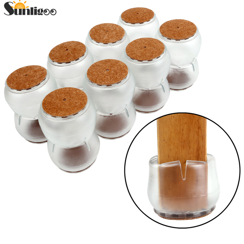 8pcs Large Transparent Clear Silicone Table Furniture Leg Feet Tips Covers Caps Felt Pads Prevent Scratches Wood Floor Protector