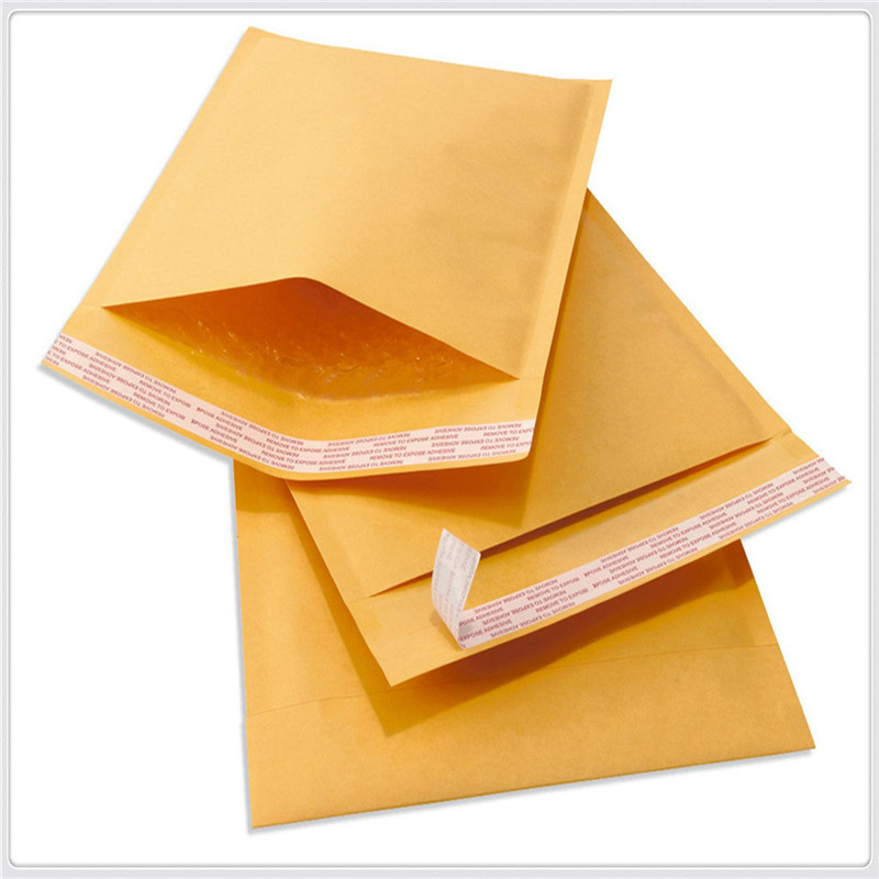 Wholesale 20PCS/Lot Yellow Paper Pouches Envelope Bags Kraft paper + bubble film postal packets bags Top Quality GR-709(China)