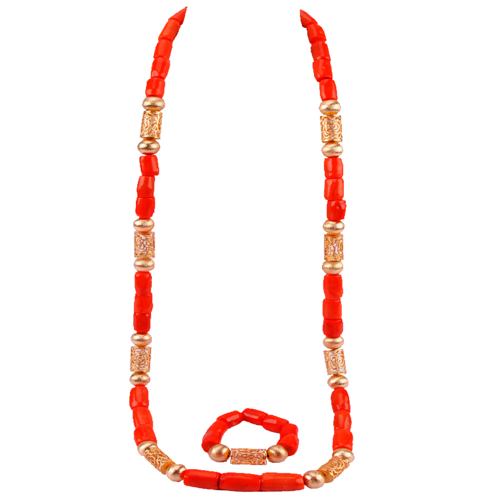 Nigerian Men Coral Beads African Coral Necklace Bracelet Wedding Jewelry Set for Groom Man Jewelry Set