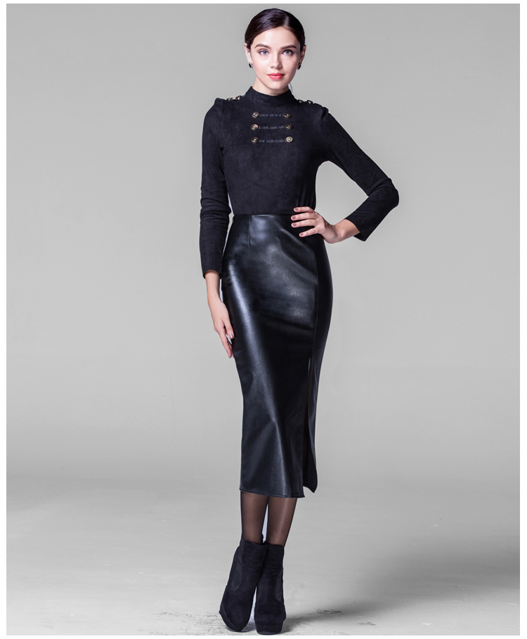 Pu Leather Midi Skirt - Dress Ala