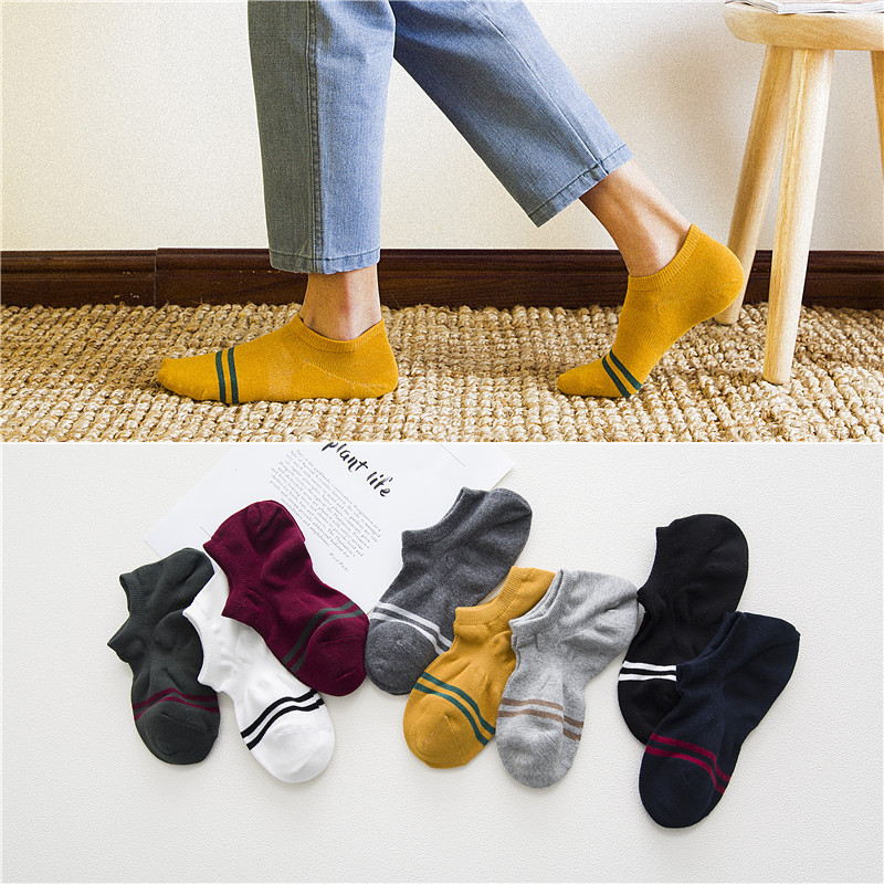 2017 men socks 5 pairs cotton short invisible socks new arrival summer striped cotton style high quality mens socks ankle socks