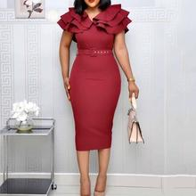 Summer Plus Size Elegant Party Dress Women 2019 Wine Red Short Sleeve Ruffle Robe Vintage Ladies Sexy Split Bodycon Midi Dresses(China)