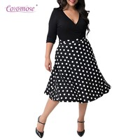Coromose Women Sexy V Neck Short Sleeve 50s Party A Line Dress Dots Simple Giant Swing