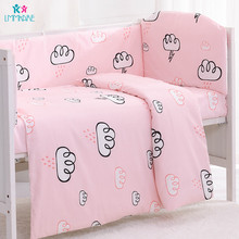 цена на Cotton Baby Bedding Sets Pink Cloud Baby Crib Bumpers Kids Breathable Cot Bed Sheet and Pillowcase Include Bed Quilt Cover Bebe