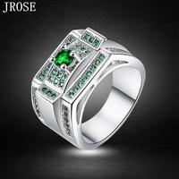 JROSE Wholesale Classic Trendy Wedding Emerald Quartz 18K White Gold Plated Ring Size 6 7 8 9 10 Free Shipping Men\'s Fashion