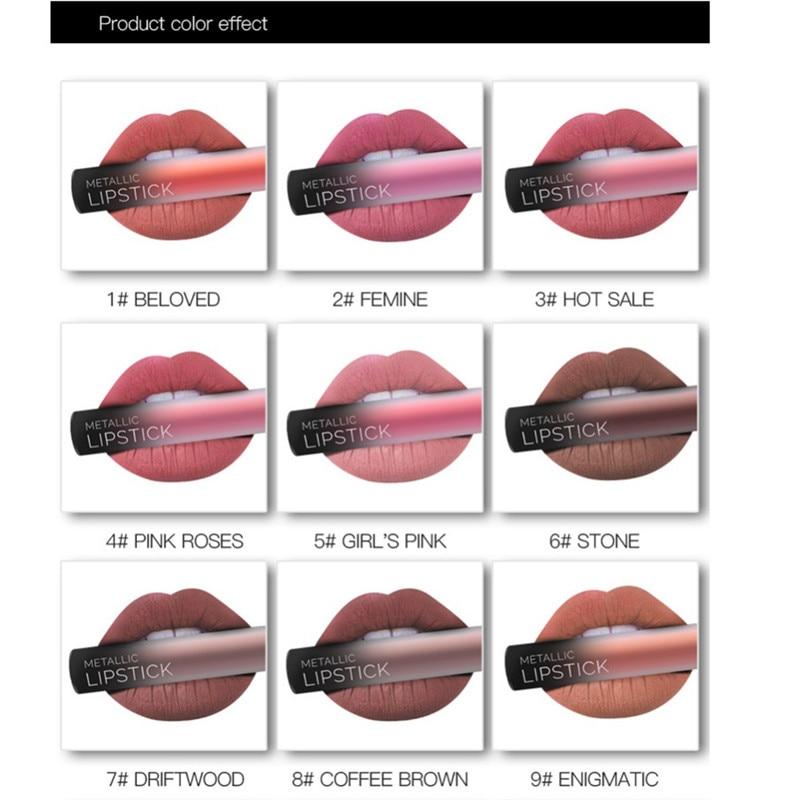 NEW 24 Colors Long Lasting Metallic Lip Gloss Red Velvet Matte Nude Liquid Lipstick Cosmetic Lips Makeup Women Gift Maquiagem 9