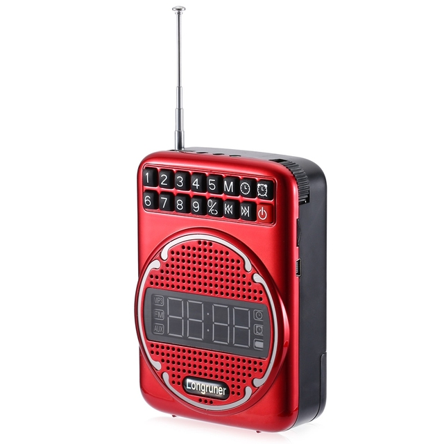 Professional Speaker LONGRUNER L - 16 FM Radio Speaker MP3 Player With Alarm Microphone LCD Screen TF Card Music Playing