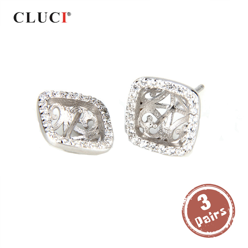 CLUCI Stud-Earrings Mounting 925-Sterling-Silver Women for Luxury 3-Pair Wholesale