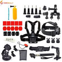 Gopro Accessories Set Helmet Chest Belt Head Mount Strap Monopod Go pro Hero 5/4/3+/3 Xiaoyi Sjcam SJ4000 SJ5000 SJ6000 M10 M20