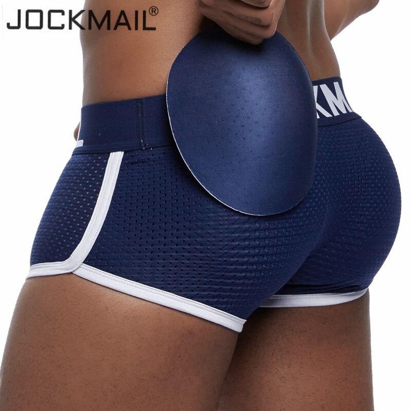 JOCKMAIL Reforço de Malha Respirável Acolchoado Hip Sexy Boxer Homens Cueca Aprimoramento Removível Duas Almofadas Bunda e gay penis Pad