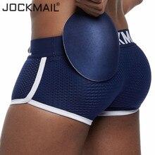 Jockmail cueca boxer de malha respirável, acolchoado e reforço com dois níveis e almofada para pênis gay