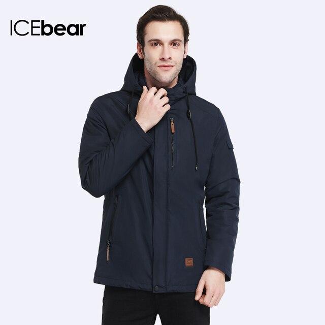 ICEbear 2017 Внешний Карман Молния Дизайн Мужчины Куртка Весна Осень Новое Прибытие Повседневная Мода Куртка Твердые Тонкий Хлопок Пальто 17MC010