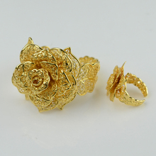 Flower set Jewelry Ethiopian Women  Real Gold Plated Bangle Free Size Ring Wedding Bridal Jewellry Set African