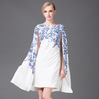 Newest 2017 Italy Luxurious Spring&Summer Printed Blue and white porcelain Cloak Casual Dress women