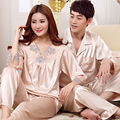 Sexy Satin Silk Lovers Sleepwear Women and Men Three Quarter Pajama Sets Couple Pajamas Tops and Pants Nightwear S3 Champagne