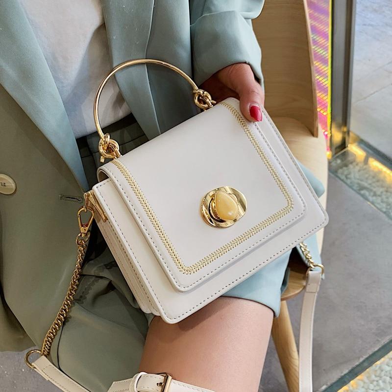Elegant Female Metal Ring Tote Bag 2019 Summer New Quality PU Leather Women's Designer Handbag Lock Chain Shoulder Messenger Bag