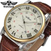 Vincitore vigilanza degli uomini di marca di lusso automatico vestito analogico della cinghia di cuoio di stile di affari di modo su salewristwatch WRG8051M3T2