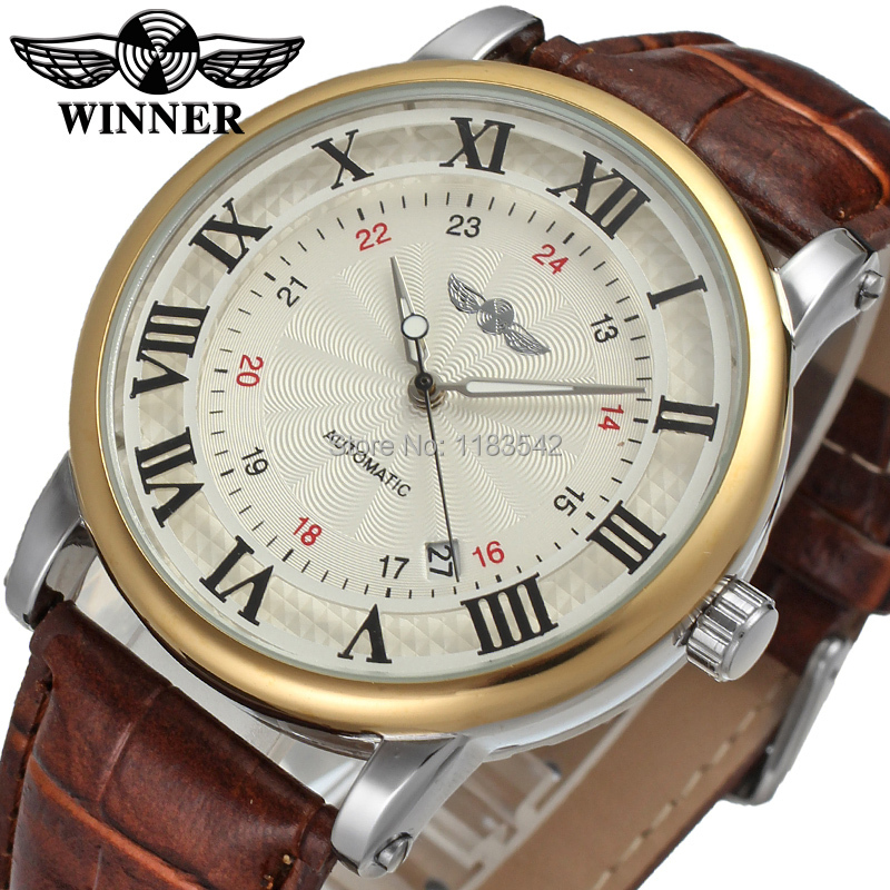 Winner font b Men s b font Watch Luxury Brand Automatic Business Style Leather Strap Analog