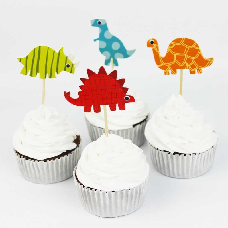 72 pcslot baby shower dinosaur party supplies cartoon cupcake toppers pick kid boy birthday - Party Decoration Stores
