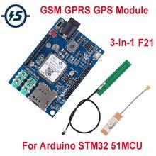 Voor Arduino STM32 GSM GPRS GPS Draadloze Shield Module F21 3 In 1 Module DC 5 12V 51MCU ondersteuning Voice Bericht Beidou Positionering